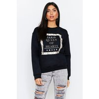 Womens Queen Of Hearts Oversized Jumper - Black - S, Black