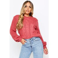Womens Cable Knit Cropped Balloon Sleeve Jumper - pink - S/M, Pink