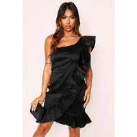 Womens Taffeta One Shoulder Ruffle Dress - Black - 10, Black