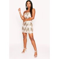 Womens Textured Sequin Bandeau Dress - Metallics - 12, Metallics