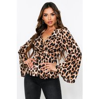 Womens Leopard Print Twist Front Long Sleeve Blouse - Beige - 12, Beige