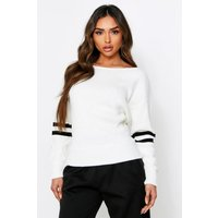 Womens Sports Stripe Knitted Slashed Jumper - White - S, White