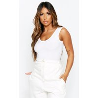 Womens Rib Scoop Back Bodysuit - white - 12, White