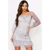 Womens Glitter Frill Organza Dress - Beige - 8, Beige