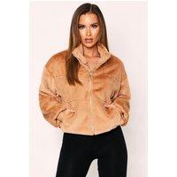 Womens Faux Fur Quilted Zip Front Jacket - Beige - S, Beige