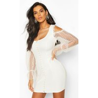 Womens Organza Spot Hook And Eye Bodycon Dress - White - 10, White