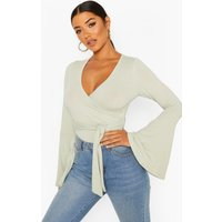 Womens Flare Sleeve Ribbed Wrap Bodysuit - Green - 10, Green