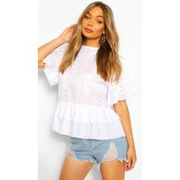 Womens Broderie Ruffle Smock Top - White - 10, White