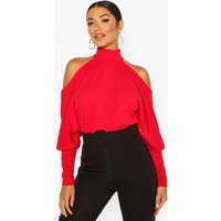 Womens Crepe Cold Shoulder Top - Red - 8, Red