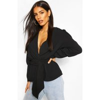 Womens Puff Sleeve Wrap Blouse - Black - 16, Black
