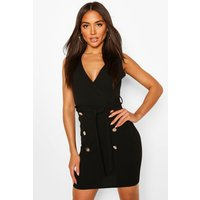 Womens Sleeveless Belted Blazer Dress - Black - 10, Black