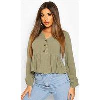 Womens Linen Mix Button Down Frill Blouse - Green - 14, Green