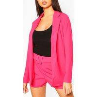 Womens Blazer & Self Fabric Belt Short Suit Set - Pink - 14, Pink