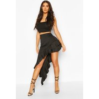 Womens Extreme Ruffle Waterfall Skirt - Black - 14, Black
