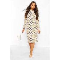 Womens Geo Print Roll/Polo Neck Midi Dress - Multi - 12, Multi