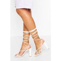 Womens Strappy Ankle Tie Block Heels - White - 8, White