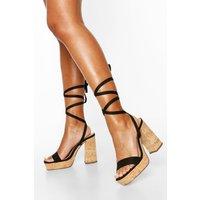 Womens Wrap Strap Platform Heels - Black - 5, Black