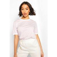 Womens Cotton Ringer T-Shirt - Purple - 8, Purple