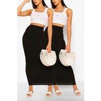 Womens 2 Pack Basic Jersey Pencil Maxiskirt - Black - 12, Black
