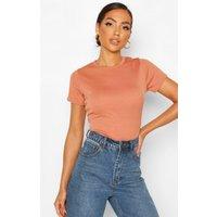 Womens Rib Cap Sleeve T-Shirt - Brown - 10, Brown