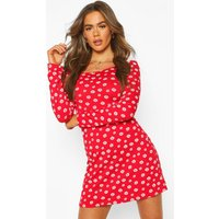 Womens Square Neck Daisy Print Skater Dress - Red - 14, Red