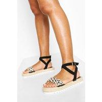 Womens Woven 2 Part Espadrille Sandals - Black - 5, Black