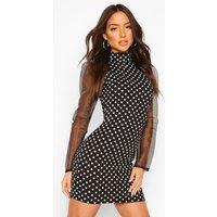 Womens Mesh Puff Sleeve Mini Heart Mini Dress - Black - 10, Black