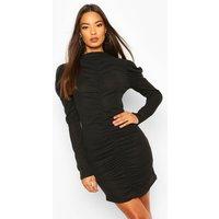 Womens Rib Rouche Front Mini Dress - Black - 14, Black