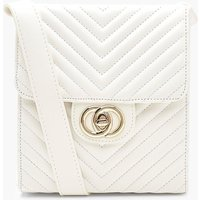 Chevron Quilted Twist Lock Cross Body Bag