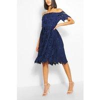 Womens Boutique Off Shoulder Lace Skater Dress - Navy - 14, Navy