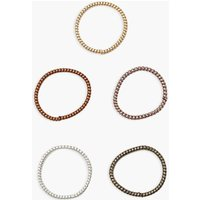 Womens Thin Coil Elastic Hair Bobble 5 Pack - Brown - One Size, Brown