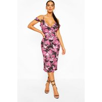 Womens Oriental Plunge Front Drape Sleeve Midi Dress - Pink - 10, Pink