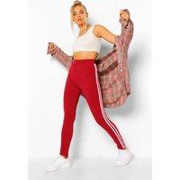 Womens Side Stripe Basic Jersey Leggings - Red - 10, Red