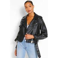 Womens Oversized Crop Biker Jacket - Black - 10, Black