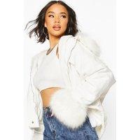 Womens Faux Fur Trim Jacket - white - L, White