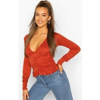 Womens Ruched Long Sleeve Crop Top - Orange - 10, Orange