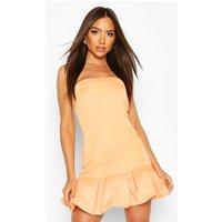 Womens Puff Ball Bandeau Mini Dress - Orange - 10, Orange