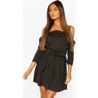 Womens Cowl Neck Cold Shoulder Skater Dress - Black - 10, Black