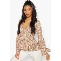 Womens Wrap Front Top With Bell Sleeves - Beige - 10, Beige