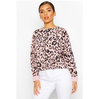 Womens Leopard Print Sweat With Overlock Detail - pink - 12, Pink
