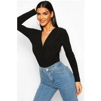 Womens Long Sleeve Wrap Bodysuit - Black - 6, Black