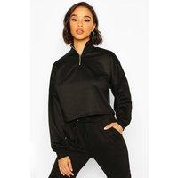 Womens Rib High Neck Zip Crop Sweatshirt - black - 8, Black