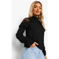 Womens Woven Ruffle Lace Detail Blouse - black - 8, Black