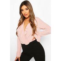 Womens Polka Dot Frill Bodysuit - Pink - 12, Pink
