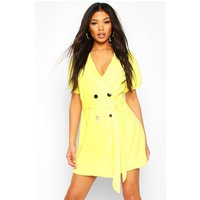 Womens Puff Sleeve Belted Button Blazer Dress - yellow - 12, Yellow