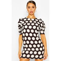 Womens Polka Dot Puff Sleeve Shift Dress - Black - 16, Black