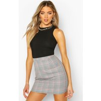 Womens Pastel Check A Line Mini Skirt - black - 8, Black
