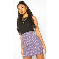 Womens Pastel Check A Line Mini Skirt - Purple - 14, Purple