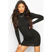Womens Long Sleeve Neon Mini Dress - Black - 16, Black