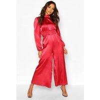 Womens High Neck Satin Shirred Waist Wide Leg Jumpsuit - Pink - 14, Pink